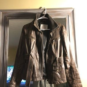 Guess brown leather coat